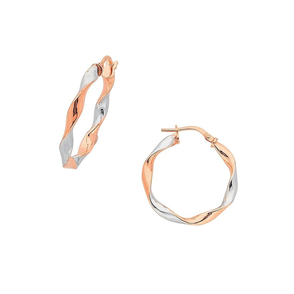 9ct Rose Gold Silver Infused 2 Tone Twist Earrings 15mm Earrings Bevilles