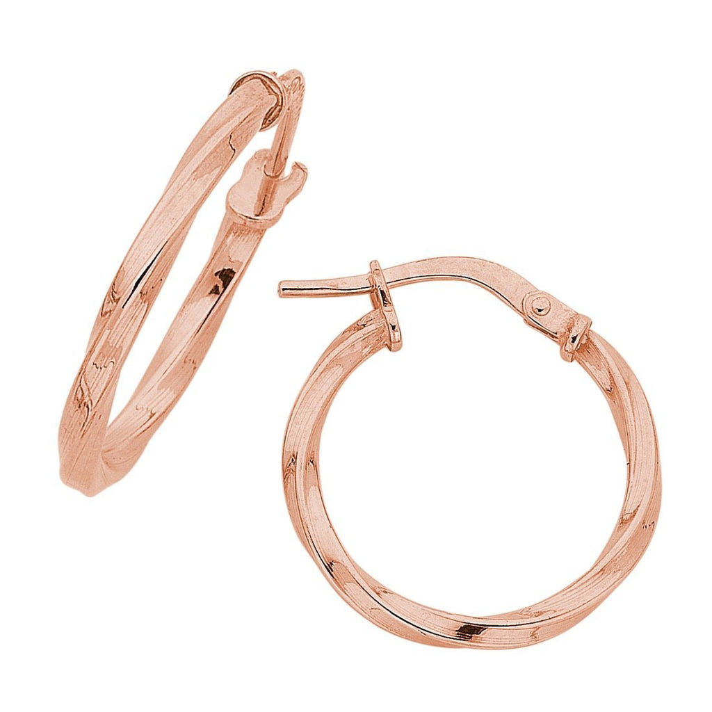 9ct Rose Gold Silver Infused Twist Hoop Earrings 20mm