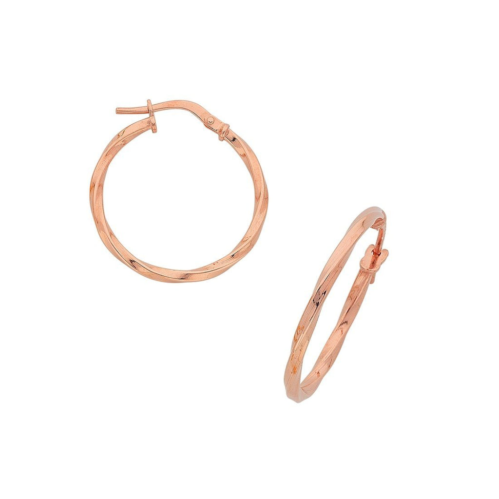 9ct Rose Gold Silver Infused Twist Hoop Earrings Earrings Bevilles