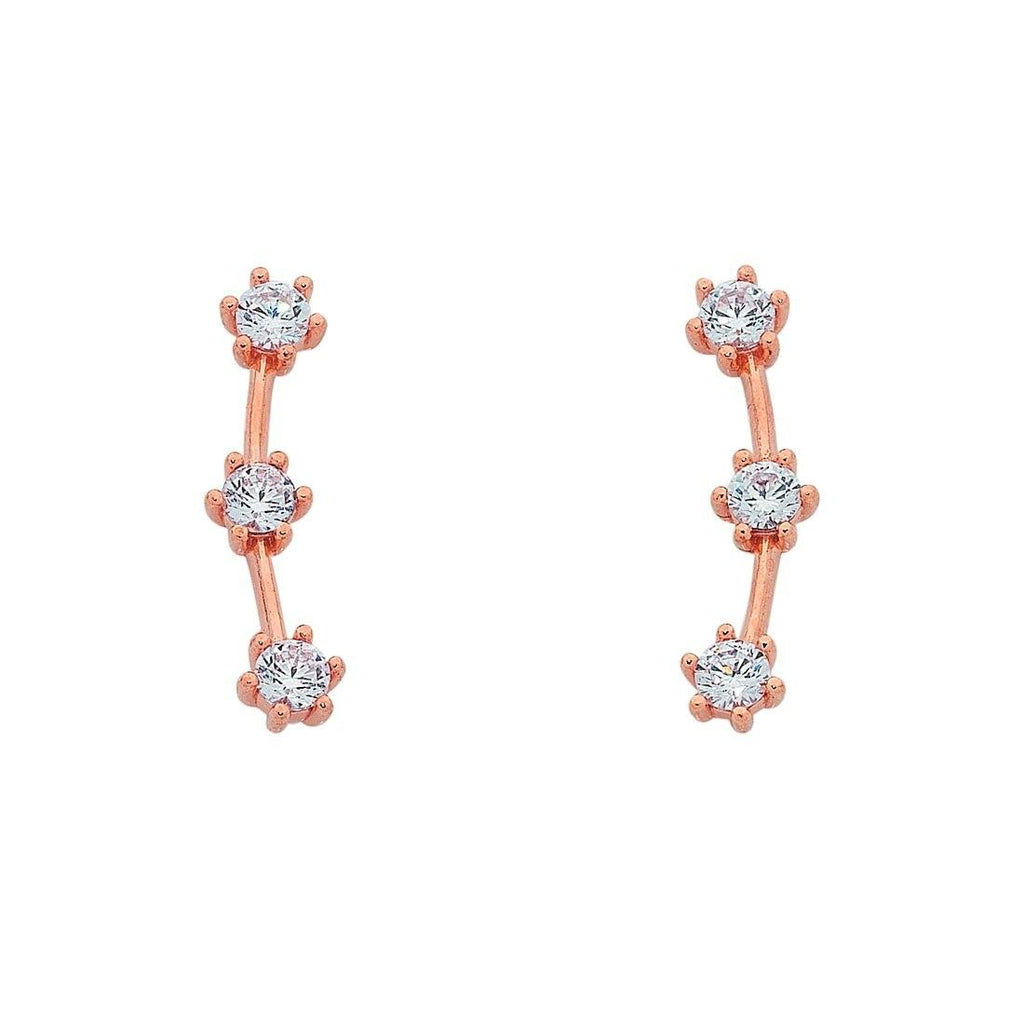 9ct Rose Gold Silver Infused Cubic Zirconia Ear Climbers