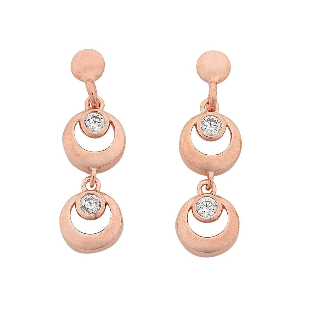 9ct Rose Gold Silver Infused Double Circle Cubic Zirconia Drop Earrings