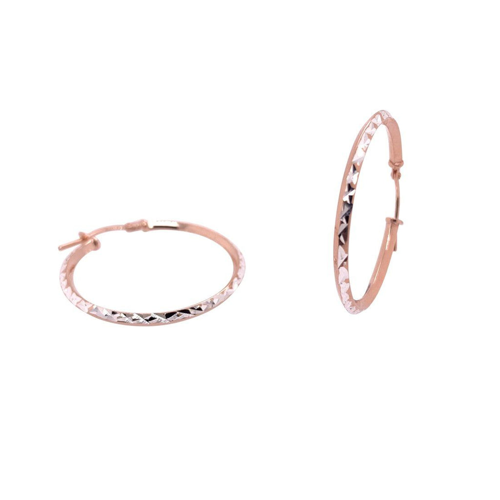9ct Rose Gold Silver Infused Reversable Hoop Earrings 25mm