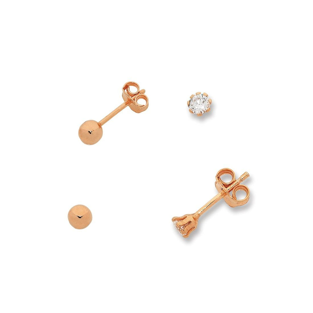9ct Rose Gold Silver Infused Stud Set Earrings Bevilles
