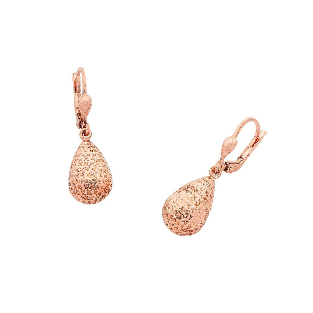 9ct Rose Gold Silver Infused Pear Shape Drop Earrings Earrings Bevilles