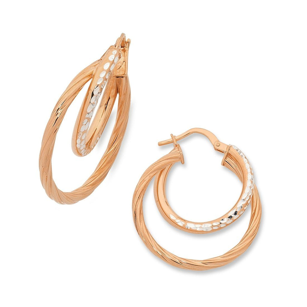 9ct Rose Gold Silver Infused Double Hoop Earrings Earrings Bevilles