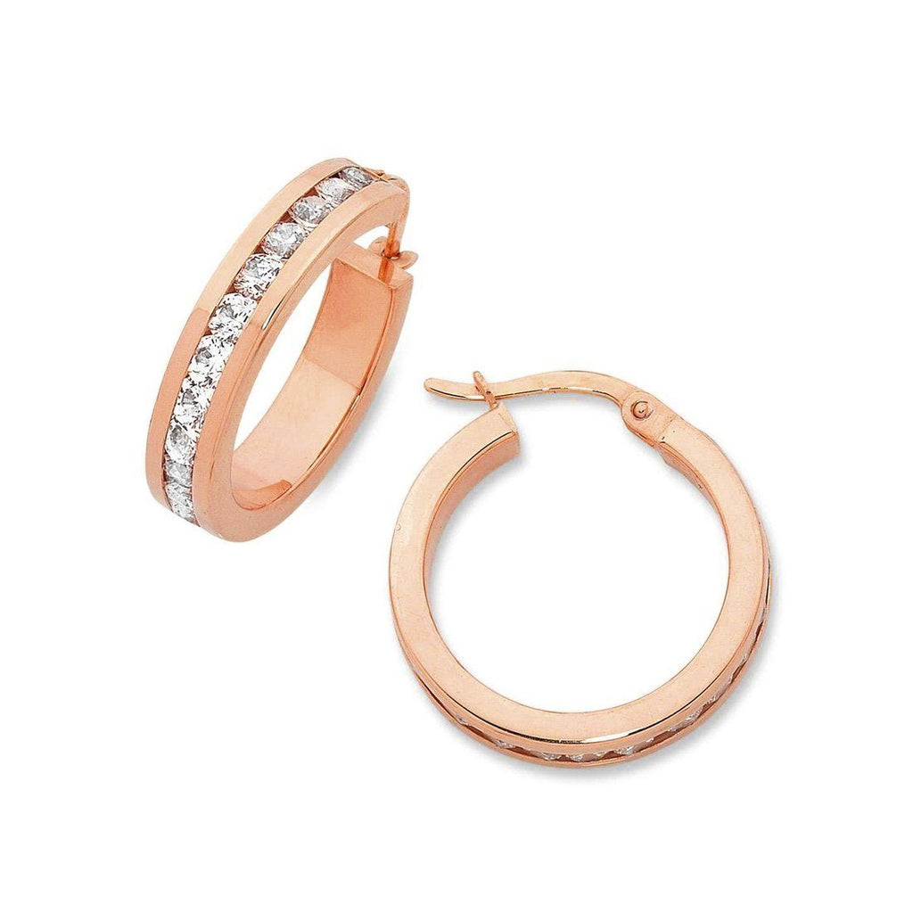 9ct Rose Gold Silver Infused Cubic Zirconia Hoop Earrings Earrings Bevilles