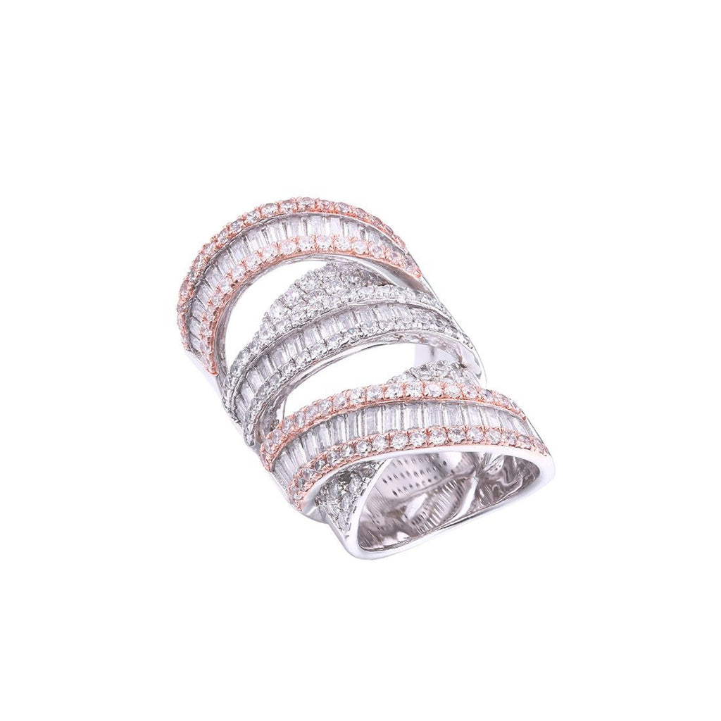 Gina Liano 2 Tone Rose And Silver Swirl Ring Rings Bevilles