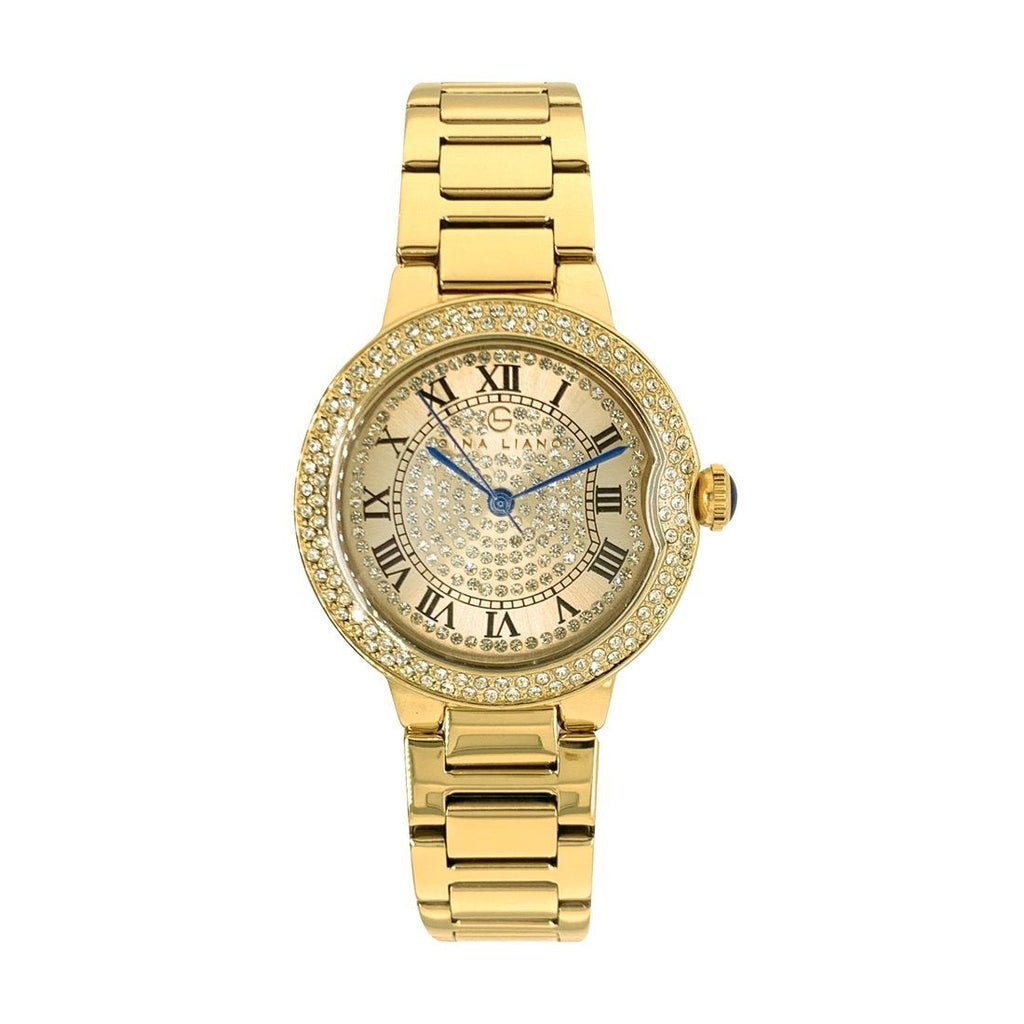 Gina Liano Glamourous Crystal Gold Watch