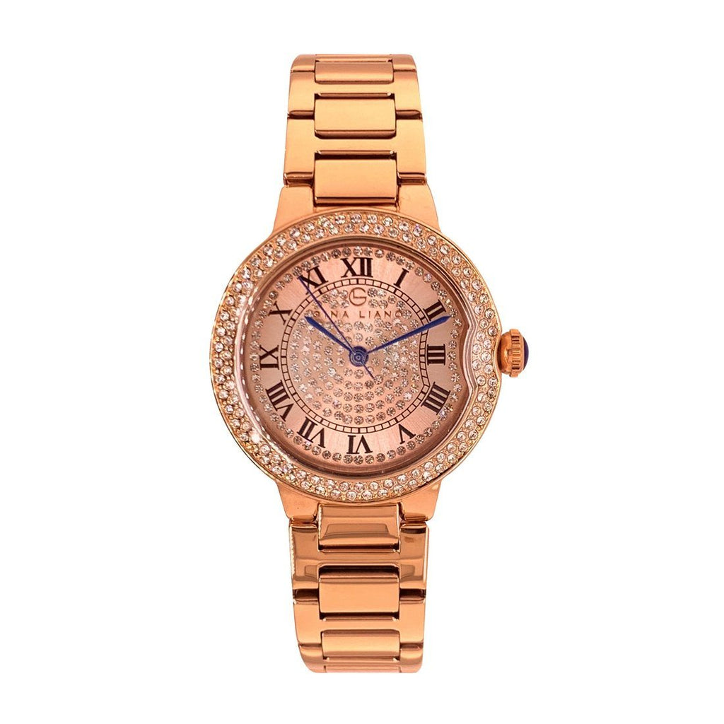 Gina Liano Glamourous Crystal Rose Gold Watch