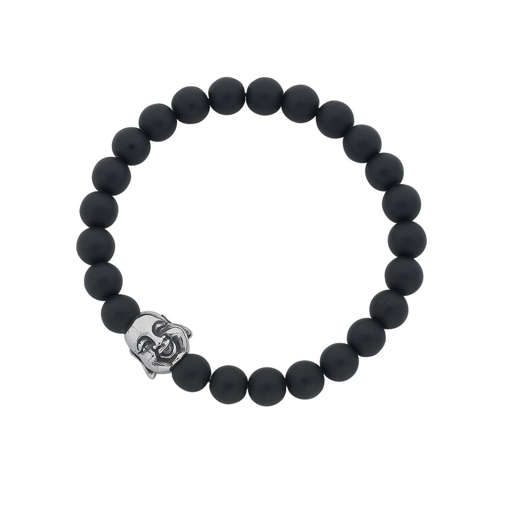 Stainless Steel Budha Face and Matte Black Ball Mens Bracelet