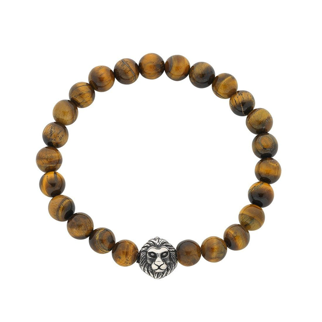 Stainless Steel Lion Face Men's Bead Bracelet
