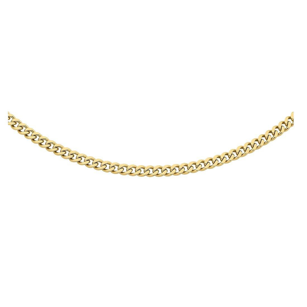Stainless Steel Gold Colour Men's Curb Necklace Necklaces Bevilles