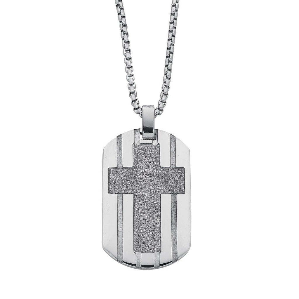Stainless Steel Sparkle Cross Men's Dogtag Necklace