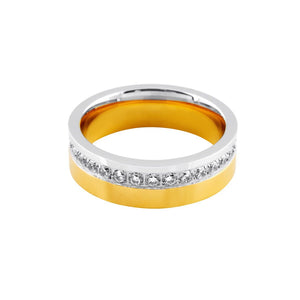 Stainless Steel Cubic Zirconia Channel Two Tone Mens Ring