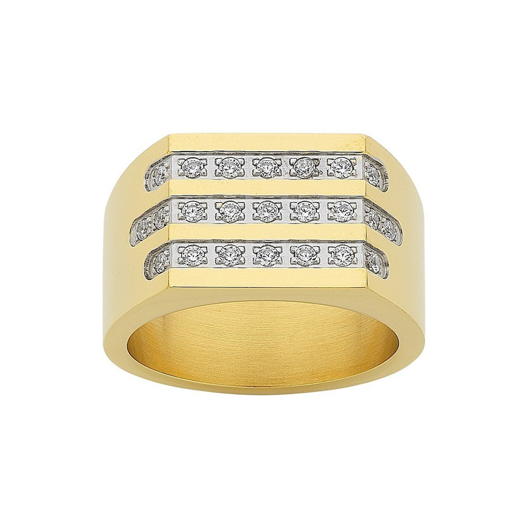 Stainless Steel Gold Colour Crystal Mens Ring