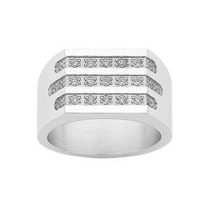 Stainless Steel Crystal Mens Ring