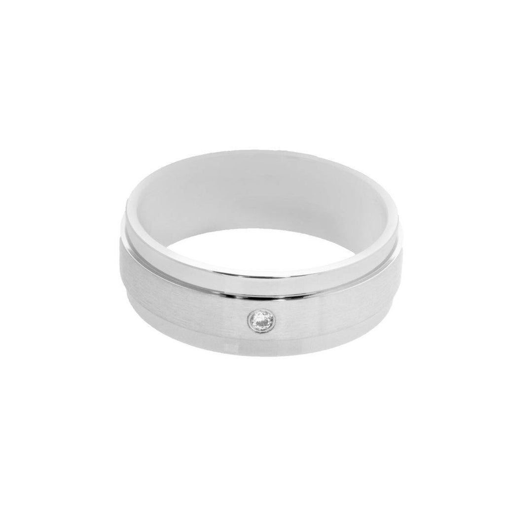 Stainless Steel Cubic Zirconia Mens Spinner Ring