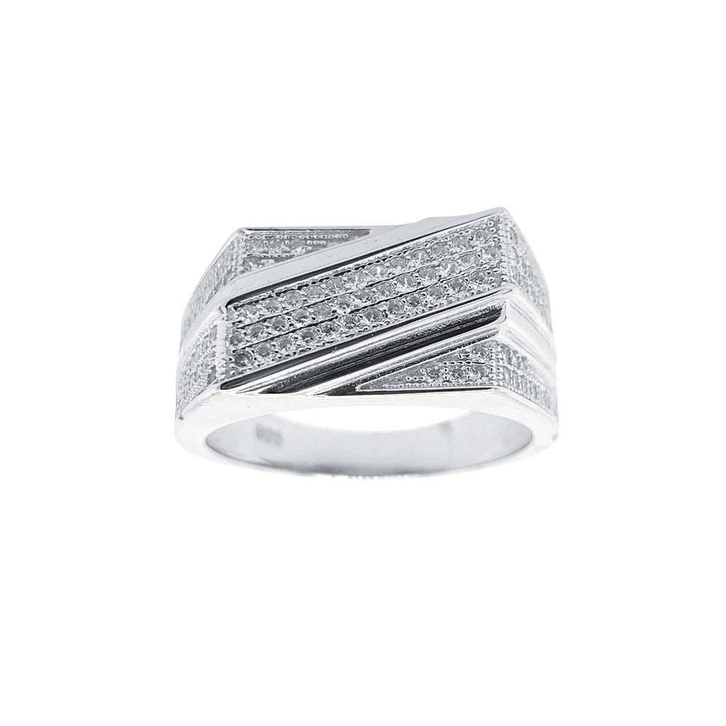 Men's Sterling Silver Cubic Zirconia Ring Rings Bevilles