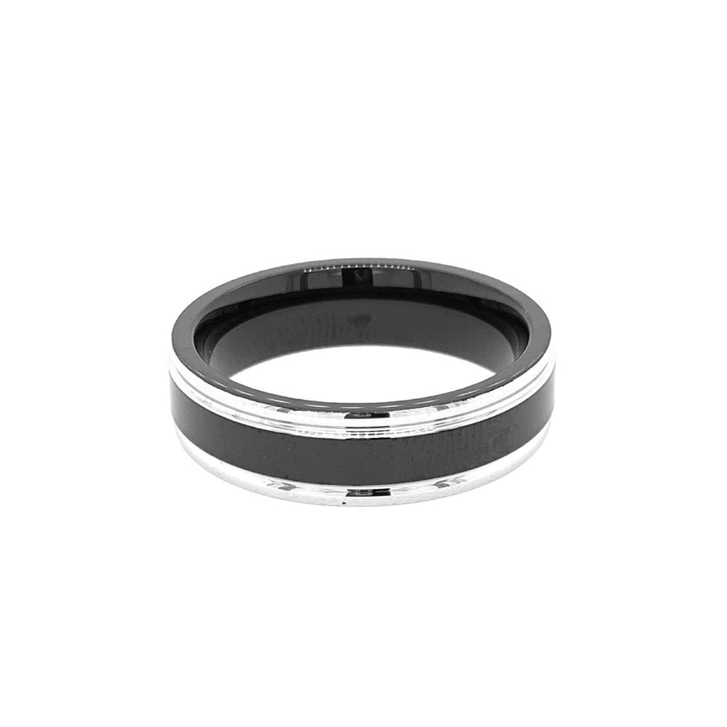 Stainless Steel Black Plating Steel Sides Ring Rings Bevilles
