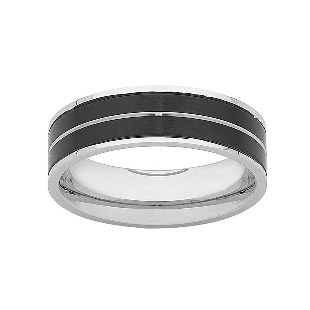 Stainless Steel Men's Ring with Black Plated Sides