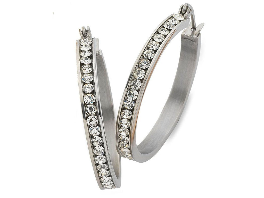 20mm White Stainless Steel Channel Crystal Hoop Earrings Earrings Bevilles
