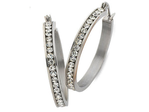 20mm White Stainless Steel Channel Crystal Hoop Earrings