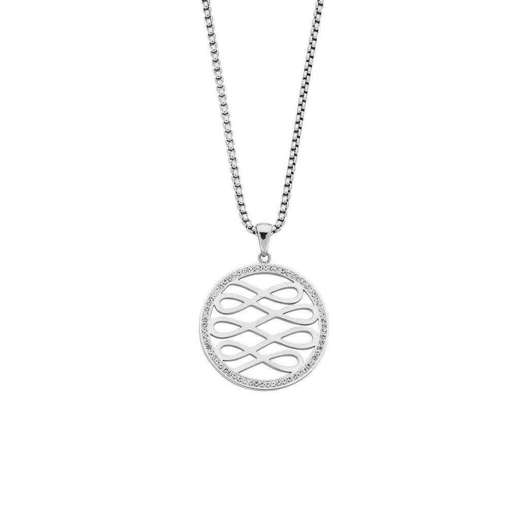 Stainless Steel Crystal Circle Multi Infinity Necklace