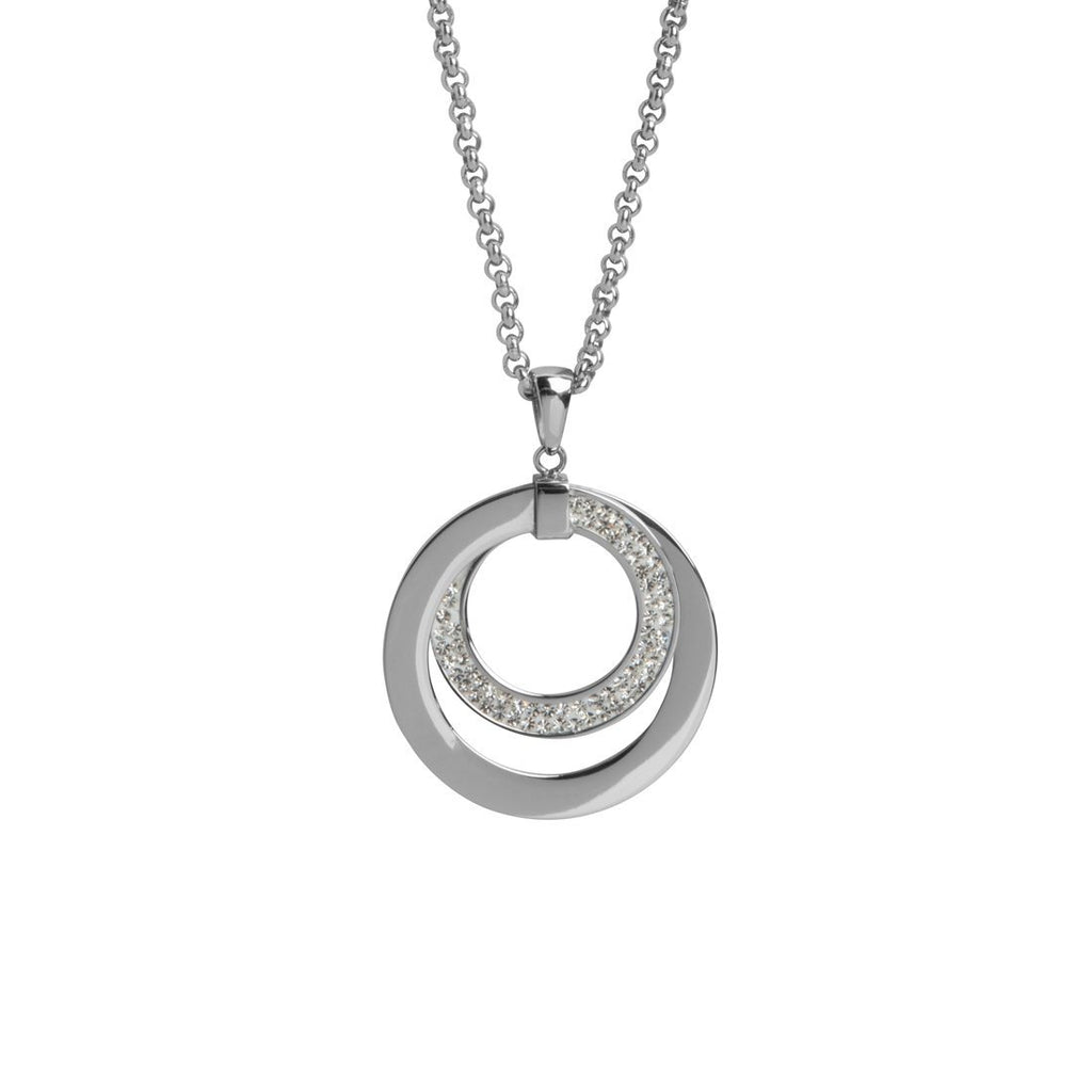 Stainless Steel Crystal Pave Open Circle Necklace Necklaces Bevilles
