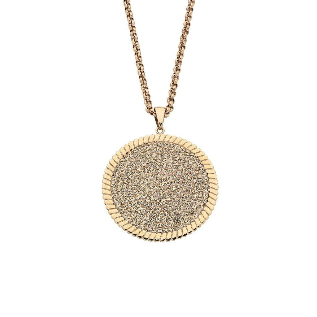 Rose Stainless Steel Pave Crystal and Disc Necklace Necklaces Bevilles