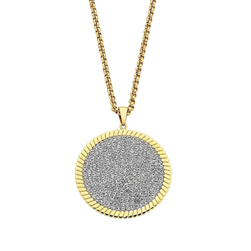 Gold Stainless Steel Pave Crystal and Disc Necklace Necklaces Bevilles