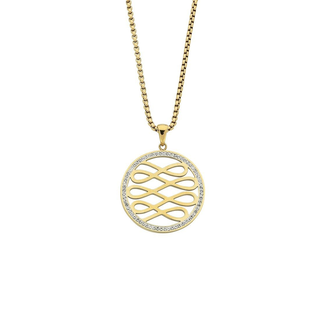 Yellow Stainless Steel Crystal Circle Multi Infinity Necklace