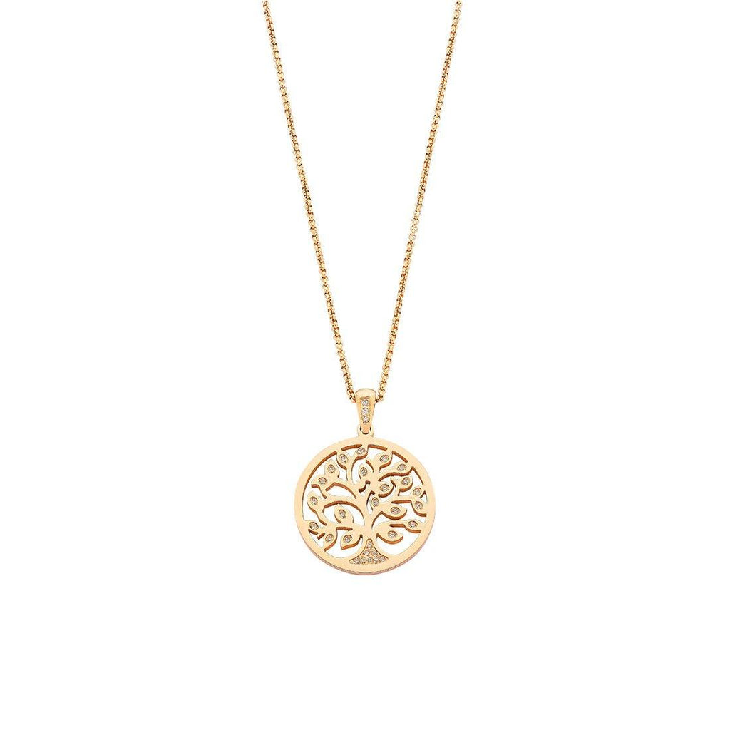 Stainless Steel Rose Tree Of Life Pendant Necklace