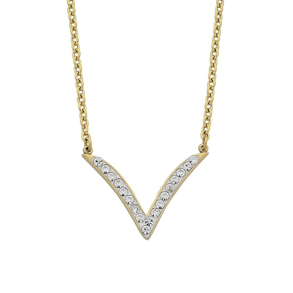 Yellow Stainless Steel Crystal V Necklace