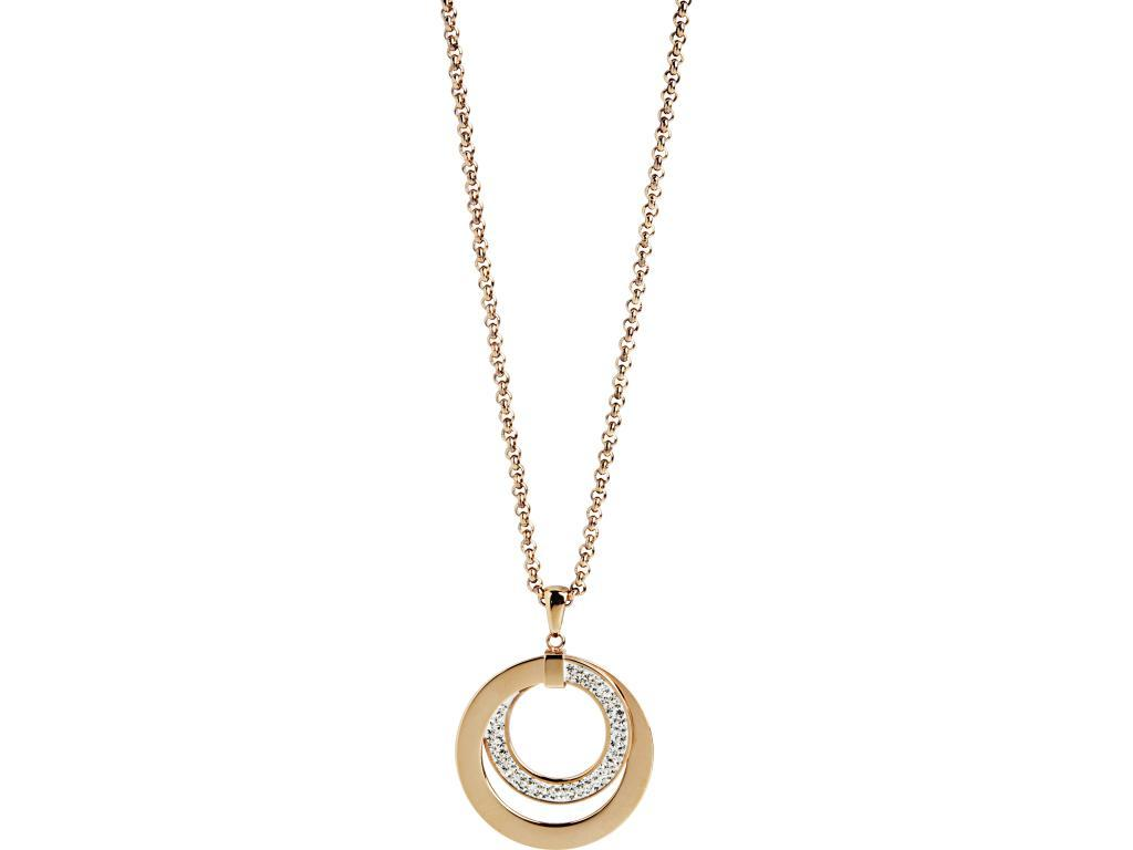 Rose Stainless Steel Open Circle Necklace