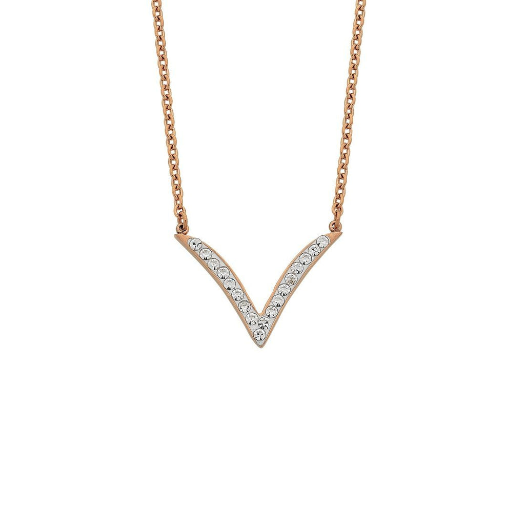 Rose Stainless Steel Crystal V Necklace