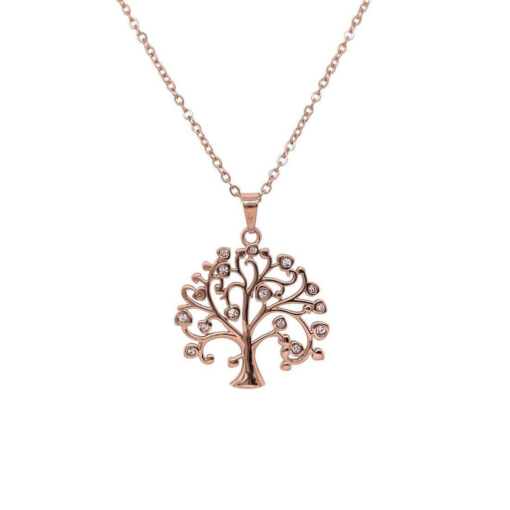 Rose Stainless Steel Crystal Tree of Life Necklace