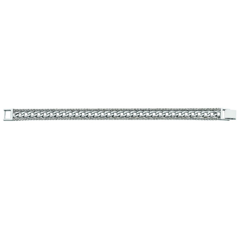 Stainless Steel Curb & Crystal Tennis Bracelet