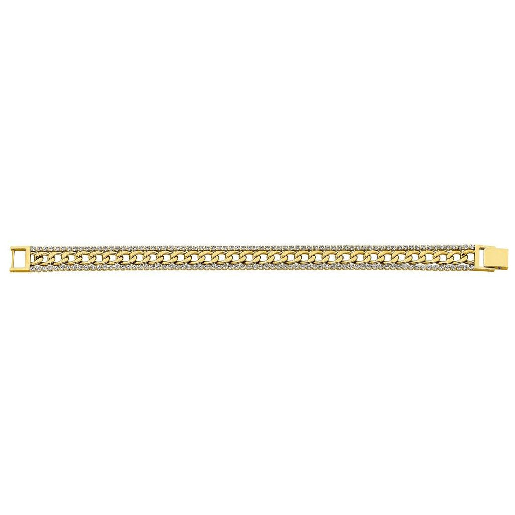 Stainless Steel Gold Coloured Curb & Crystal Tennis Bracelet
