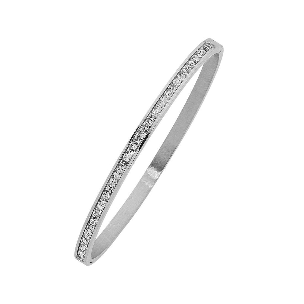 Stainless Steel Crystal Princess Channel Hinge Bangle