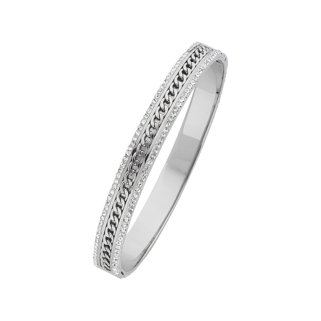 Stainless Steel Crystal Bangle with Curb Detailing Bracelets Bevilles