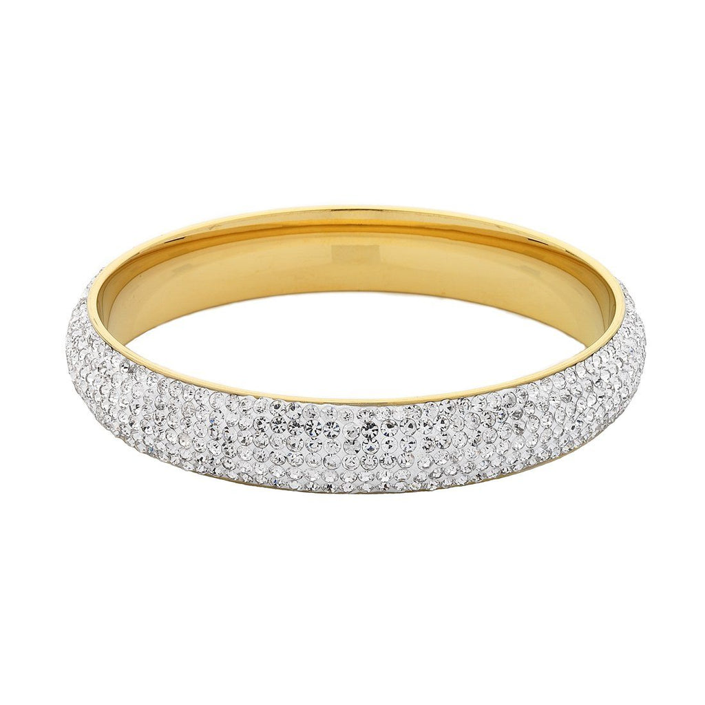 Stainless Steel Gold Colour Bangle with White Crystals
