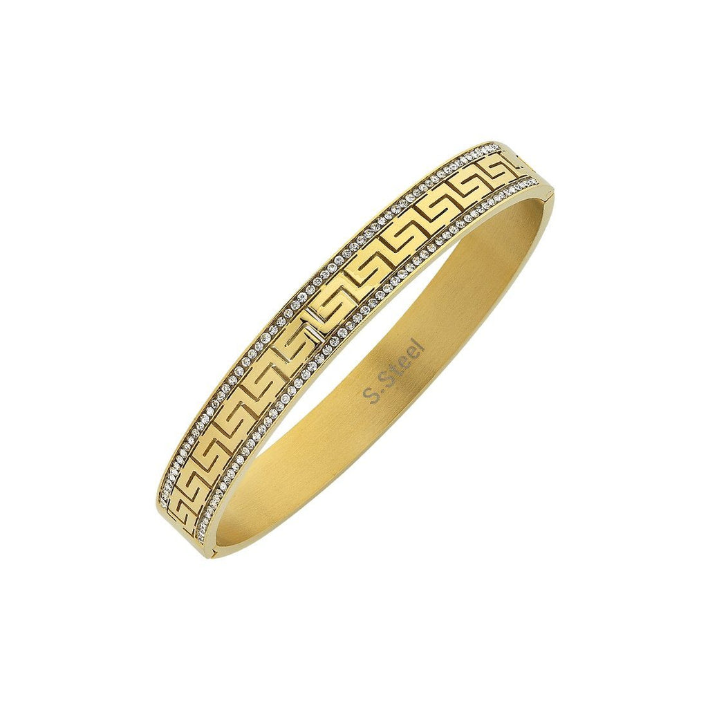 Yellow Stainless Steel Crystal Greek Design Bangle