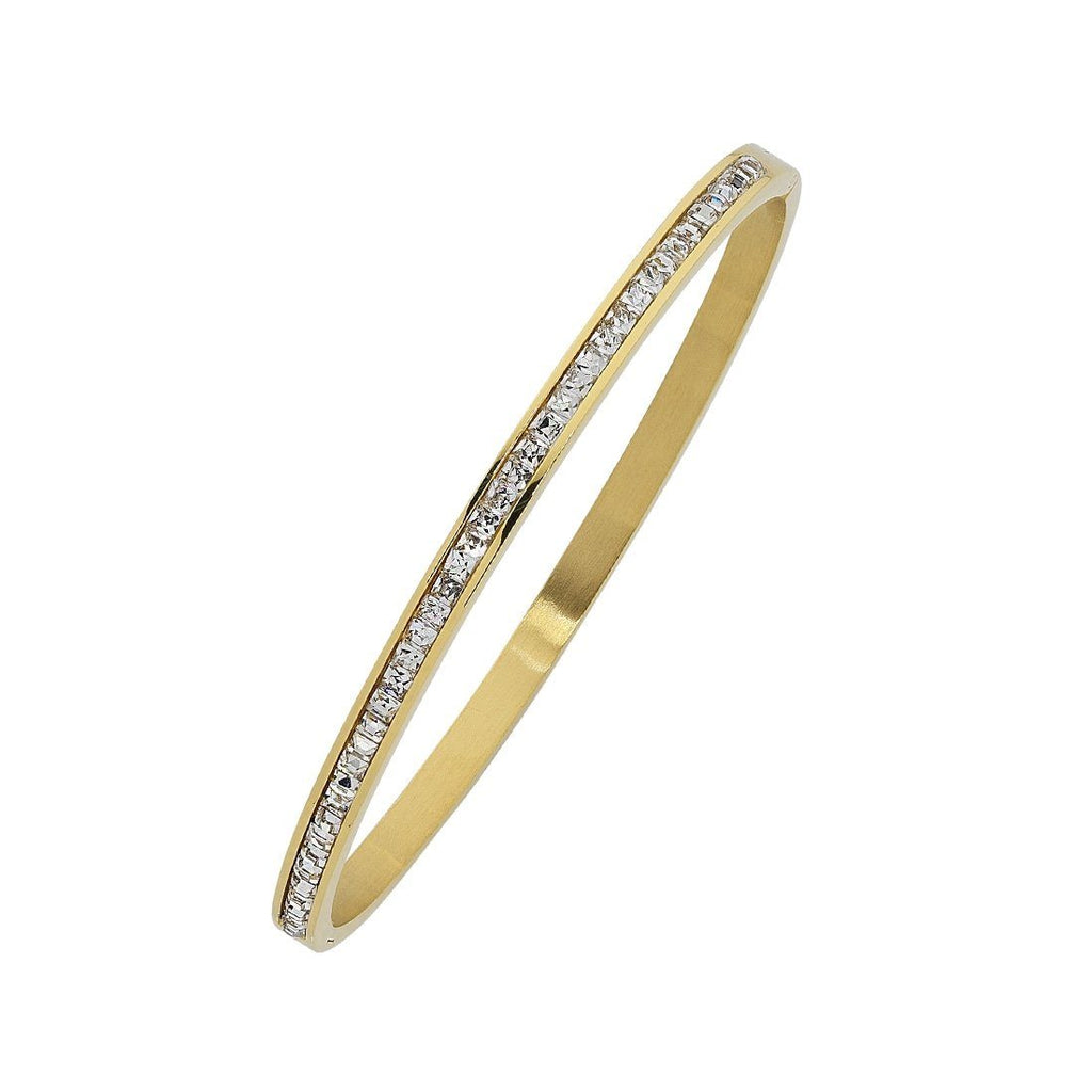 Yellow Stainless Steel Crystal Princess Channel Hinge Bangle Bracelets Bevilles