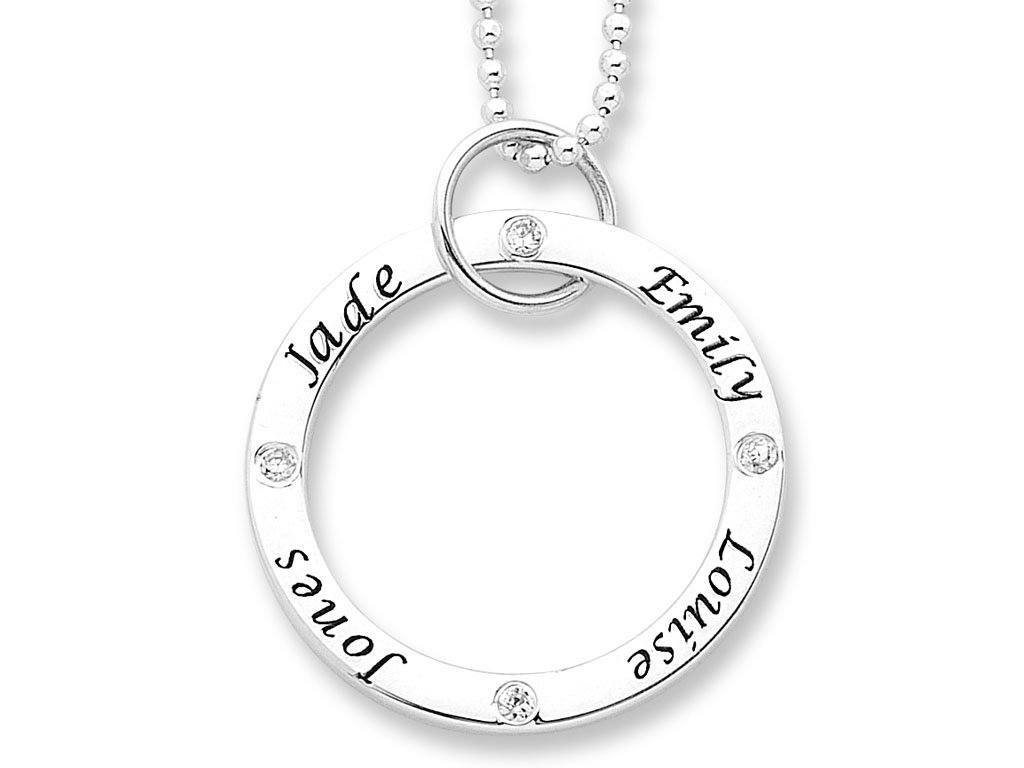 Personalised Sterling Silver Large Circle Stone Set Necklace Necklaces Bevilles