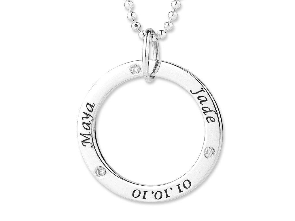 Personalised Diamond Set Large Circle Necklace Necklaces Bevilles