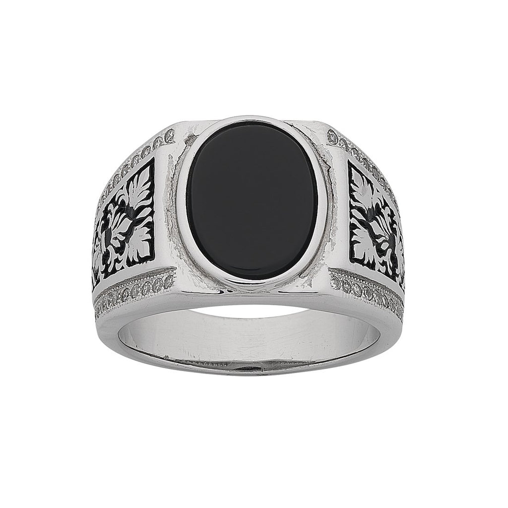Mens Sterling Silver Black Stone Ring