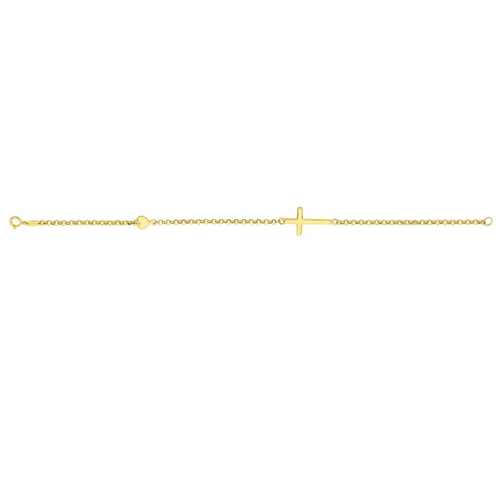 9ct Yellow Gold Cross and Puff Heart Bracelet