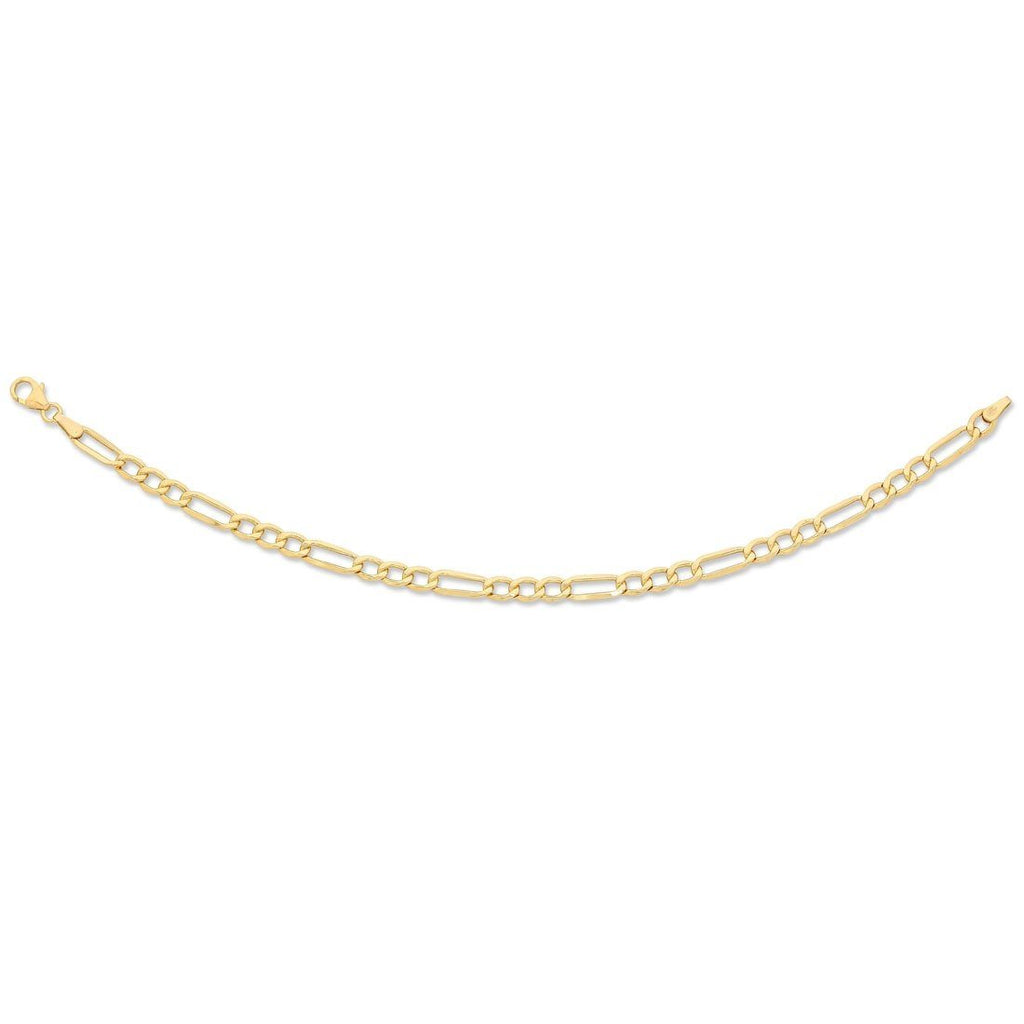 9ct Yellow Gold 1/3 Figaro Bracelet 19cm Necklaces Bevilles