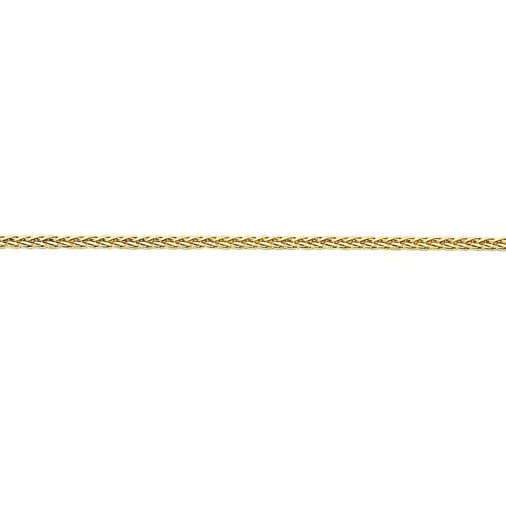 9ct Yellow Gold Diamond Cut Wheat Necklace 40mm Necklaces Bevilles