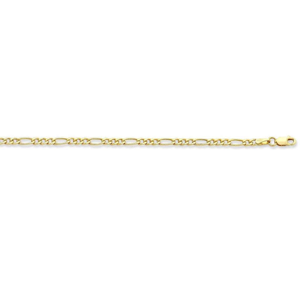 9ct Yellow Gold 1/3 Figaro Necklace 65cm